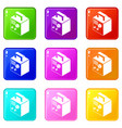 electro welding machine icons set 9 color vector image vector image