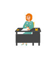 female doctor in uniform sitting at table in vector image vector image