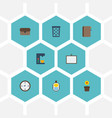 flat icons whiteboard identification contact and vector image vector image