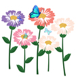 Flowers with butterflies vector image