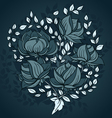 Freehand drawing of peony flowers in blue colors vector image