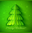 Green origami Christmas tree greeting card vector image vector image