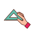 hand holding triangle ruler supply vector image