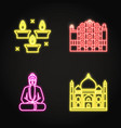 india icons set in glowing neon style vector image vector image