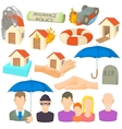 Insurance icons set cartoon style vector image vector image