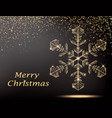 merry christmas greeting card with gold snowflake vector image vector image
