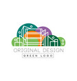 Original city logo design with high-rise buildings vector image