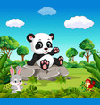 panda in the forest vector image vector image