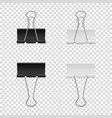 realistic binder clip icon set isolated on vector image