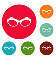 retro spectacles icons circle set vector image vector image