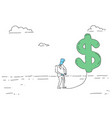 rich business man hold dollar sign money growth vector image vector image