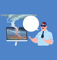 scared man in virtual 3d glasses watching vector image vector image
