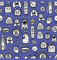 seamless pattern with funny monsters and aliens vector image vector image