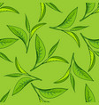 seamless tea leaves pattern vector image vector image