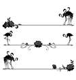 set borders with flamingo and roses vector image vector image