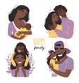 set clip art a happy smiling black african vector image vector image