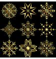 set large gold snowflakes vector image