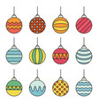 set of christmas balls icon line art vector image vector image
