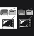 silhouette retro radio antique television tube vector image