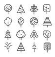 simple contour lines trees nature plants vector image