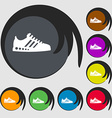 Sneakers icon Symbols on eight colored buttons vector image vector image
