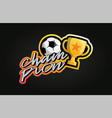 soccer or footnall ball and cup sticker champion vector image