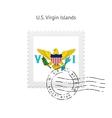 US Virgin Islands Flag Postage Stamp vector image