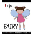 vocabulary worksheet card with cartoon fairy vector image vector image
