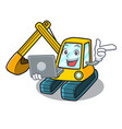 with laptop excavator character cartoon style vector image vector image