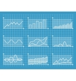Blueprint infographic line graphs and charts vector image