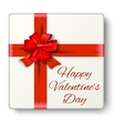 Present box with red ribbon and bow vector image