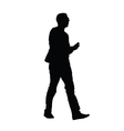man with phone silhouette vector image