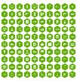 100 construction site icons hexagon green vector image vector image