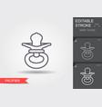 bapacifier line icon with editable stroke vector image vector image