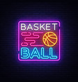 basketball night neon logo basketball neon vector image vector image