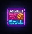 basketball night neon logo neon vector image