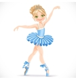 Beautiful ballerina girl dancing in blue dress vector image vector image