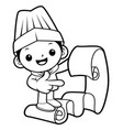 black and white funny cook mascot look at the vector image vector image