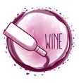 bottle serving wine round splash vector image vector image