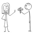 cartoon angry woman rejecting flowers and love vector image