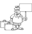 Cartoon man with suitcases holding a sign vector image vector image