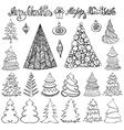 Christmas tree setBallsletteringBlack vector image vector image