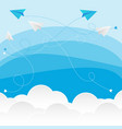 clouds with paper planes vector image