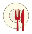 color knife fork and plate icon vector image vector image