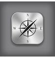 Compass icon - metal app button vector image vector image