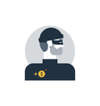 Criminal man side view thief turned head outlaw vector image