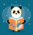 cute bear panda reading book vector image vector image