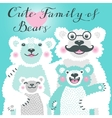 Cute card with a family of white bears Dad hugs vector image