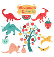 cute set of dinosaurs and fruits vector image vector image