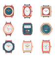 Different Types Watches Flat Icons Collection vector image